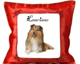 Red pillow personalized with name Collie dog