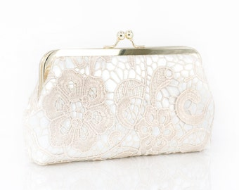 Bridal Champagne Lace Ivory Satin Clutch with Gold Frame - L'HERITAGE