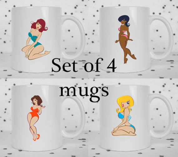 Set of 4 retro pinup girl mugs