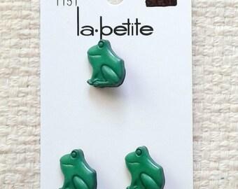 """Boutons à queue verts grenouille - 5/8 """"x 1/2"""" x 1/4""""- La petite - 3 boutons par carte 03/2018"""