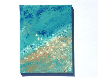 Abstract beach, fluid acrylic painting, ocean art, pour painting with cells, vertical 11x14