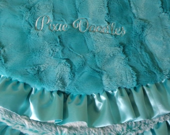 Dog Blanket with  Ruffle - Breeze Hide Luxe Cuddle w/ Breeze Frost Luxe Cuddle - Embroidered Personalization