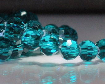14 pcs 8mm Transparent Teal Multi-Faceted Round Glass Beads  TT-5