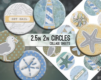 Beach Ocean Nautical Digital Collage Sheet 2.5 Inch and 2in Circle Download Printable Images for Gift Tags Cards Scrapbooking JPG