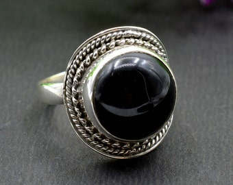 Natural Black Onyx Round Gemstone Ring 925 Sterling Silver R228