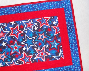 Patriotic Stars and Stripes Table Runner