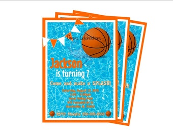 Basketball Pool Party Invitation, Pool Party Invitation, Basketball Party - Digital File