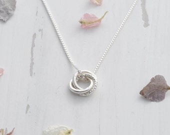 Sterling Silver Mini Russian Ring Necklace - Linked Circle Necklace - Eternity Circle Necklace - Interlocking Necklace - 30th Birthday Gift