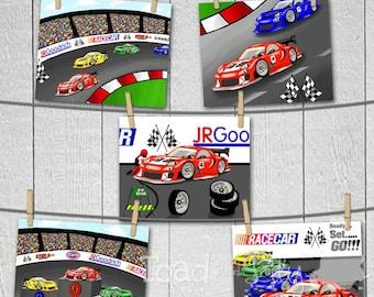 Set of 4 Race Car Boys Racing 8 x 10 ART PRINTS