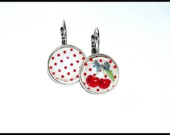 Earrings cherry and polka dots