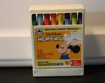 Terrific Vintage Set of 16 Disney's Mickey Mouse Crayons by Golden - New and Unused