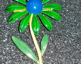 ON SALE  : Vintage Enamel Daisy Pin Brooch Flower with Stem Green and Blue