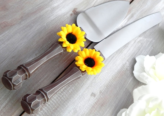 Rustic Wedding cake Server Knife Set Wood Look with Sunflower Fall Wedding Thanksgiving Bridal Shower Gift