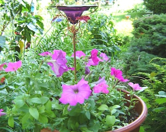 """CONTAINER GARDENING, Butterfly Feeder, stained glass, 4.75"""" diameter, PLUM Purple, copper, garden stake, Garden Art"""