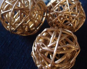 Gold Twig Balls - 2 inch Metallic Gold  Grapevine Balls 10 pieces