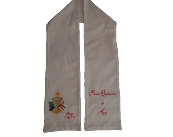 Personalized first Communion scarf, painted by hand for child, adult