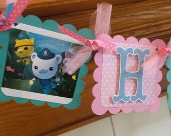 Octonauts Banner, Octonauts Birthday Banner, Octonauts Girl Banner, Octonauts Happy Birthday Banner, Peso, Dashi, Kwazii, Captain Baracles