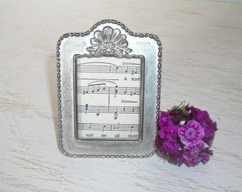 vintage silver picture frame - shabby cottage chic decor - ornate silverplate hollywood regency - easel back