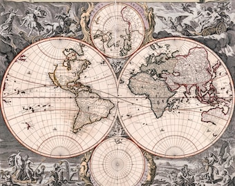 Antique World Map, Old Vintage Map, 1690, HD Canvas Print or Art Print, Vintage Antique Artwork, Retro Wall Poster, Fade Proof Reproduction