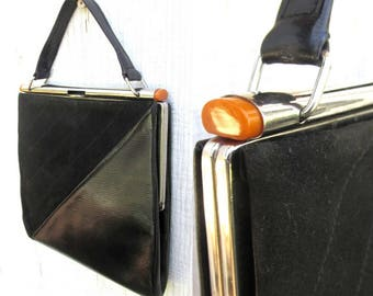 1920's ART DECO Purse in Black Leather with Butterscotch BAKELITE and Chrome Accents - Authentic Vintage Antique