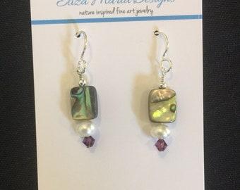 Abalone Shell, Swarovski Crystal, & Freshwater Pearl Sterling Drop Earring drop earring