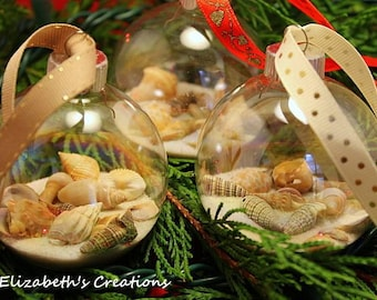 Seashell Ornament, Beach Ornament, Seashell Glass Ornament, Sand and Seashells Beach Ornament, Beach Holiday Glass Globe, Christmas Ornament