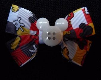 Disney bow - Retro Mickey parts - white button