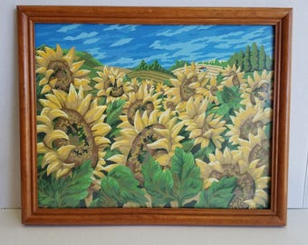 Vintage 15.5 x 12.5 Inch Framed Sunflower Field PBN Paint By Number Painting