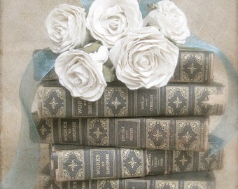 "French Country Art, Book Art, Library Office Decor, Old Book Photo, Home and Garden, Romantic White Rose Art, Book Print-""Hopeless Romantic"""