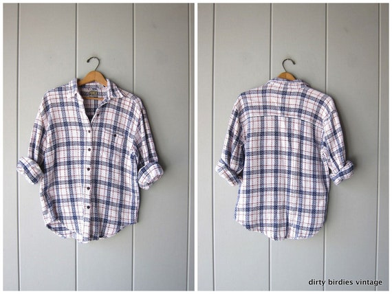 Vintage Plaid Shirt White Blue Textured Cotton Button Up Shirt Boyfriend Flannel Shirt Fall Plaid Shirt Grunge Button Down Womens Large