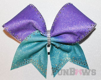 Beautiful ! Light purple and teal Ombre Allstar Cheer Bow with rhinestones by FunBows !