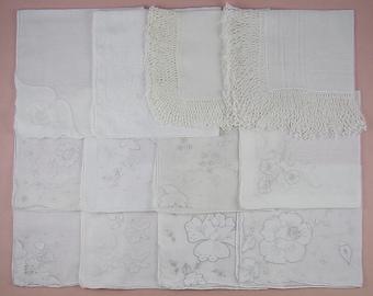 Vintage Hanky Lot,Wedding Hanky Lot,One Dozen White Wedding Vintage Hankies Handkerchiefs (Lot #87)