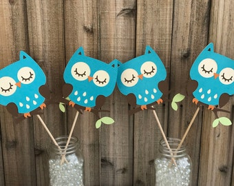 Turquoise Owls Centerpiece, set of 4