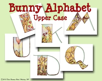Bunny Alphabet - Upper Case - Letters - Decorating - Teaching - Bunnies - Animals - Printable PDF - Instant Download