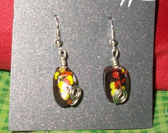 Spotted glass earrings