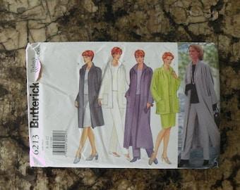 1999 UnCut Butterick Pattern 6213 Misses Jacket, Duster, Top, Skirt and Pants Size 8-10-12