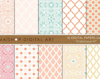 Digital Paper 'Arabesque III' Coral, Pink Pale, Scandal Green, Apricot... Sweet Moroccan Printable Papers for Scrapbook, Cards, Invites...
