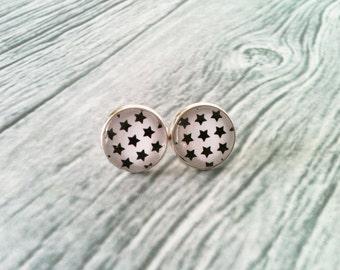 Star earrings, black and white earrings, hypoallergenic, glass cabochon, stud earrings, geek jewelry, gift idea for her