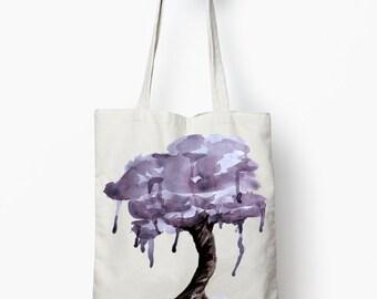 Purple tree tote bag, watercolor art bag, canvas tote bag