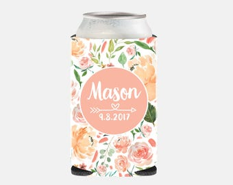 Peach Wedding Favors Rustic Wedding Favors for Guests Bachelorette Party Favors Peach Wedding Can Coolers Floral Bridesmaid Gift Cute Pink