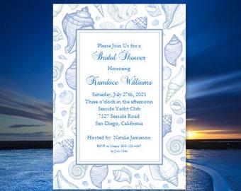 Beach Theme Bridal Shower Invitations Tropical Wedding Shower Seashell Wedding Printable Bridal Shower DIY You Print