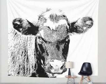 Black Cow, Wall Tapestry,White,Black,Kids decor,Modern Animal Wall Art,Home Decor,Home Accessories,Bedroom Art,Unique Design,Interior Design