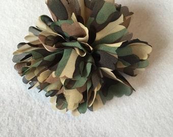 Green Cammo Clip On Ribbon Flower