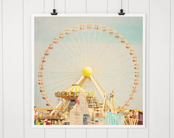 Ferris Wheel art, ferris wheel decor, colorful nursery art, carnival photo, baby's room decor, nursery decor, wildwood nj art, jersey shore