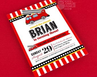 Fire Engine BIRTHDAY Party Printable 5 x 7 inch Invitation, INSTANT DOWNLOAD, You Edit Yourself with Adobe Reader