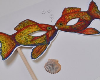 Fish Mask / Hand-Held Mask / Pisces Mask