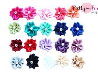 GRAB BAG MINI Satin Pinwheel with Rhinestone Flowers- You Choose Quantity-Headband Supplies- Flower- Wholesale-Supply Shop