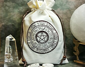 CLEARANCE ITEM Pagan Wheel of Seasons Embroidered Cotton Velvet Drawstring Tarot Pouch Tarot Bag Zodiac Wheel Wiccan Seasons Rune Bag