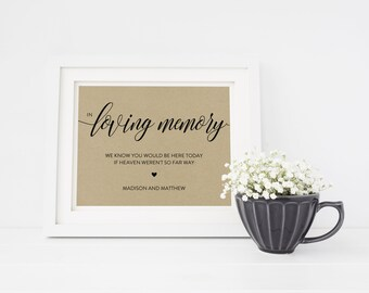 Wedding Sign Template | In Loving Memory Sign | Wedding Sign | Printable Wedding Sign | 5x7 & 8x10 | EDN 5399