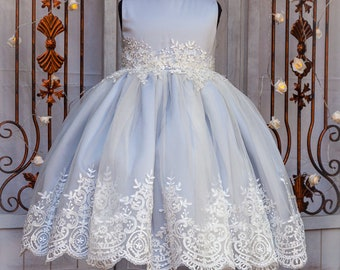 Flower girl dress grey/blue with lace applique and stunning lace edging